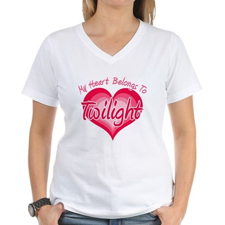 Heart Belongs Twilight Women's V-Neck T-Shirt