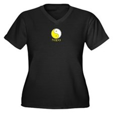 Small Logo Women's Plus Size V-Neck Dark T-Shirt