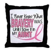 Bravery (Aunt) Breast Cancer Support Throw Pillow