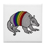 Texas Rainbow Armadillo Tile Coaster