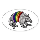 Texas Rainbow Armadillo Oval Decal