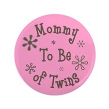 "Babie's Shower - Twin Girls 3.5"" Button"