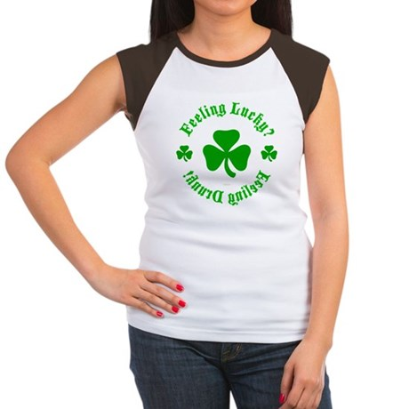 Lucky? Drunk! Womens Cap Sleeve T-Shirt