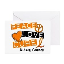 PEACE LOVE CURE Kidney Cancer (L1) Greeting Cards