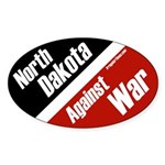 North Dakota Against War oval bumper sticker