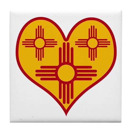 New Mexico Zia Heart Tile Coaster
