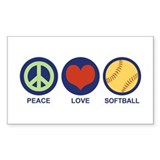 Peace Love Softball Rectangle  Aufkleber