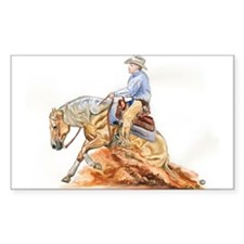 Reining horse Rectangle Sticker 10 pk)