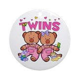 Twins - Girl Bears Ornament (Round)