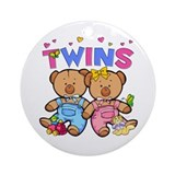 Twins - Boy & Girl Bears Ornament (Round)