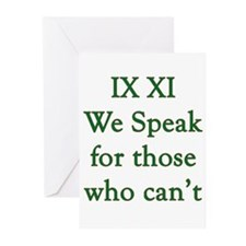 IX XI - speak Greeting Cards (Pk of 10)