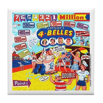 "Gottlieb® ""4 Belles"" Tile Coaster"