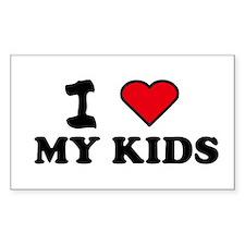 I LOVE MY KIDS Rectangle Stickers