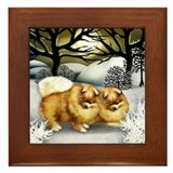 POMERANIAN DOGS WINTER SUN Framed Tile