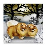 POMERANIAN DOGS WINTER SUN Tile Coaster