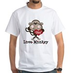 Her Love Monkey Valentine White T-Shirt