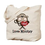 Her Love Monkey Valentine Tote Bag