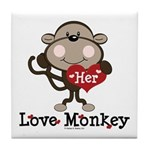 Her Love Monkey Valentine Tile Coaster