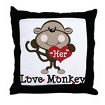 Her Love Monkey Valentine Throw Pillow