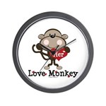 Her Love Monkey Valentine Wall Clock