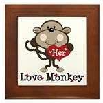 Her Love Monkey Valentine Framed Tile