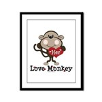 Her Love Monkey Valentine Framed Panel Print