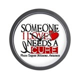 Needs A Cure MELANOMA Wall Clock