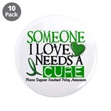 "Needs A Cure CEREBRAL PALSY 3.5"" Button (10 pack)"