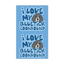 I Love my Bluetick Coonhound Sticker (Cartoon)