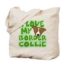 I Love my Brown Border Collie Tote Bag (Cartoon)