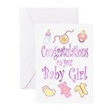Congratulations Baby Girl Greeting Cards (Pk of 10