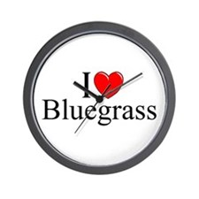 """I Love (Heart) Bluegrass"" Wall Clock"