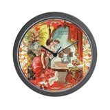 Vintage Sewing Machine Print Wall Clock