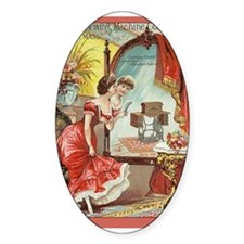 Vintage Sewing Machine Print Oval Sticker (10 pk)