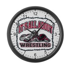 All About Wrestling Large Wall Clock