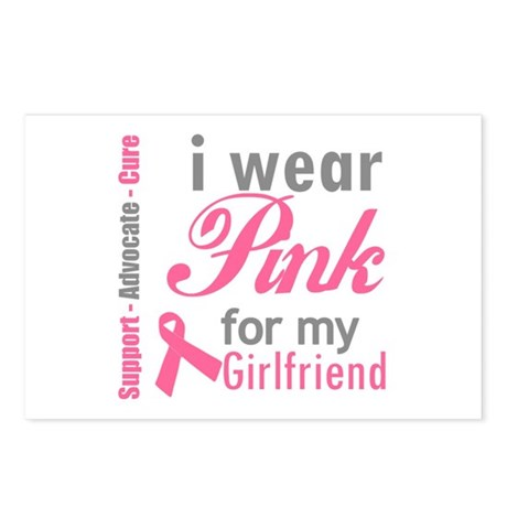 I Wear Pink For My Girlfriend Postcards (Package o