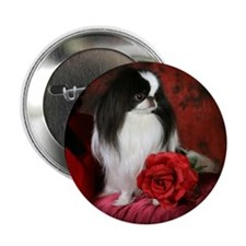 "Japanese Chin & Rose 2.25"" Button (10 pack)"