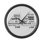 44: Obama Inauguration Newspaper Large Wall Clock