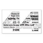 44: Obama Inauguration Newspaper Sticker (Rectangl