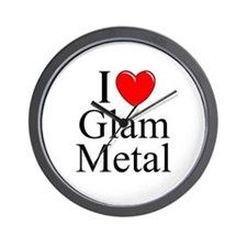 """I Love (Heart) Glam Metal"" Wall Clock"