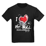 I Luv My Pit Bull Kids Dark T-Shirt