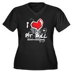 I Luv My Pit Bull Women's Plus Size V-Neck Dark T-