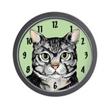 Grey Tabby Wall Clock