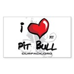 I Luv My Pit Bull Rectangle Sticker 10 pk)