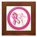 Cute Breast cancer collage Framed Tile