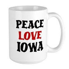 Peace Love Iowa Large Mug