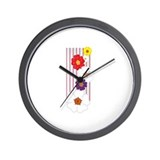 Stripes and Posies Wall Clock
