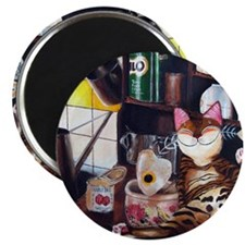 cat art coffee shop Magnet