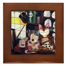 cat art coffee shop Framed Tile