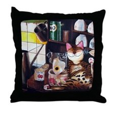 cat art coffee shop Throw Pillow